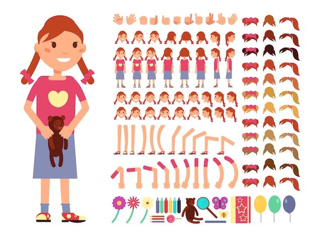 Personagem de desenho bonito menina pequena. construtor de criação de vetor com emoções diferentes e par de corpo