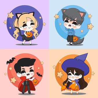 Personagem de desenho bonito ou chibi para festa de halloween em traje de conjunto