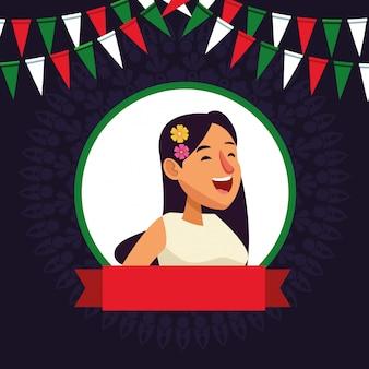 Personagem de desenho de avatar de rosto de menina