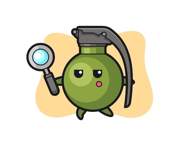 Personagem de desenho de granada procurando com uma lupa, design de estilo fofo para camiseta, adesivo, elemento de logotipo