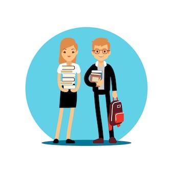 Personagem de desenho de menina e menino estudantes