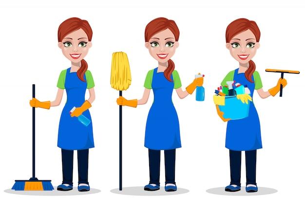 Personagem de desenho de mulher mais limpa