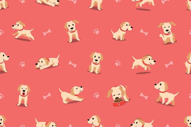 Personagem de desenho de vetor labrador cachorro sem costura padrão