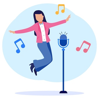 Personagem de desenho gráfico vetorial de ilustração de cantar