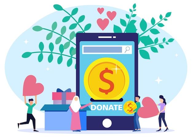 Personagem de desenho gráfico vetorial de ilustração de doações de ações