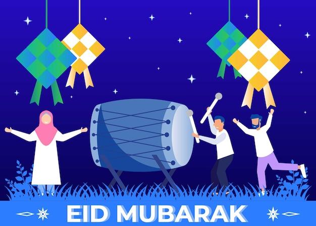 Personagem de desenho gráfico vetorial de ilustração de eid mubarak