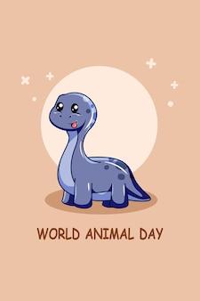 Personagem de design de dinossauro no dia mundial dos animais