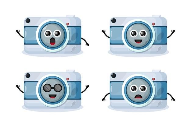 Personagem de design de logotipo de câmera fofo
