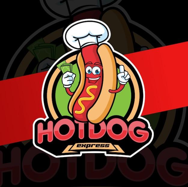 Personagem de design de logotipo de mascote de cachorro-quente