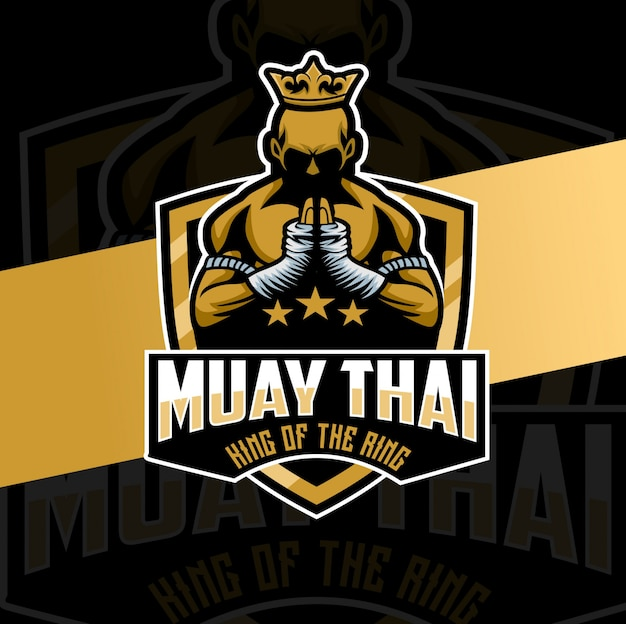 Personagem de design de logotipo de mascote muay thai