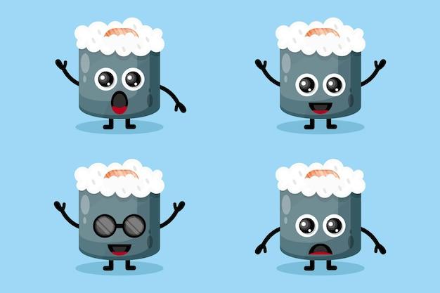 Personagem de design de logotipo de sushi fofo