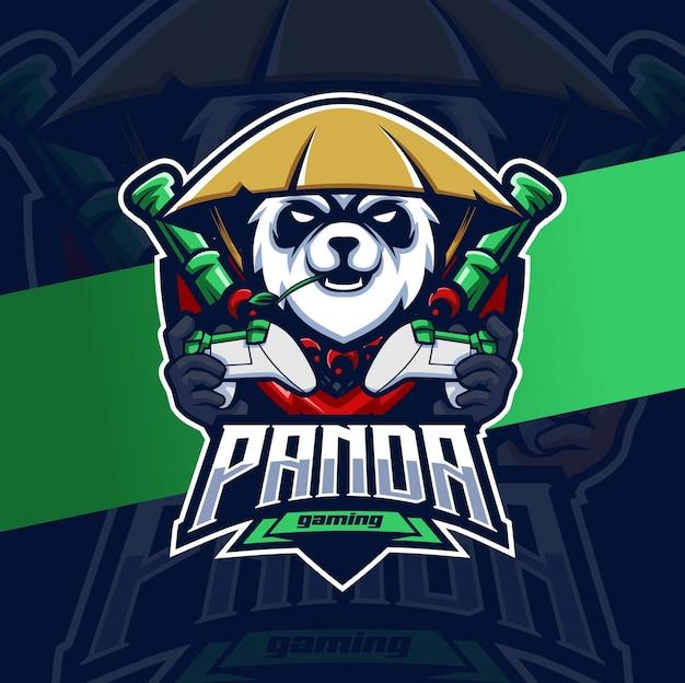 Personagem de design de logotipo do mascote do panda gamer para jogos