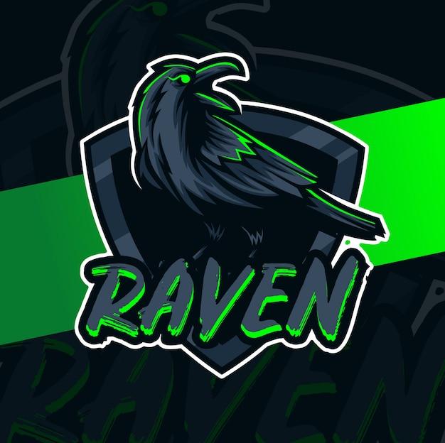 Personagem de design de logotipo mascote raven esport