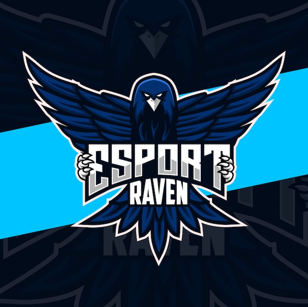 Personagem de design de logotipo mascote raven esport