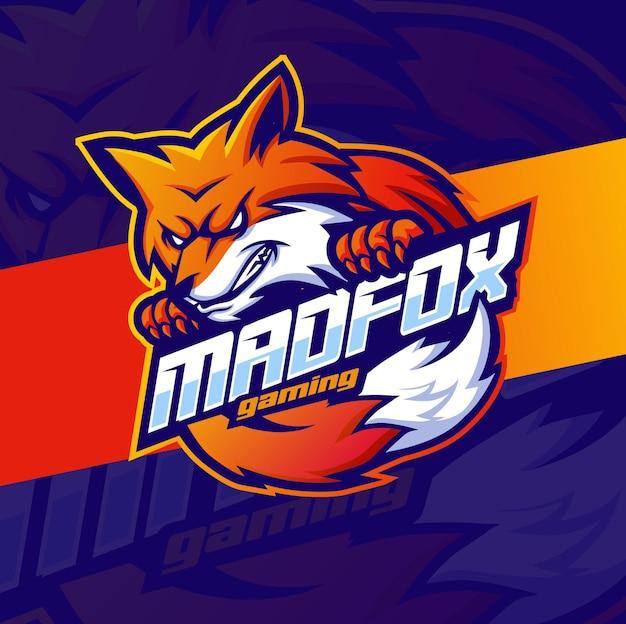 Personagem de design do mascote da fox para logotipo de jogos e esportes