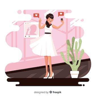 Personagem de design plano com conceito de foto auto