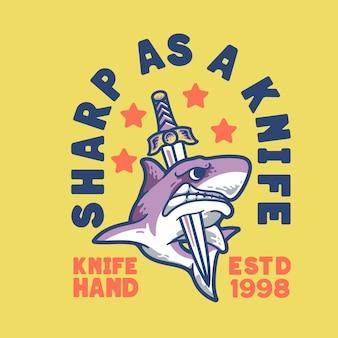 Personagem de design vintage moderno com ilustração de tubarão com faca