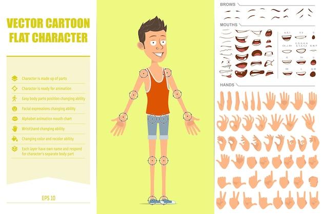 Personagem de desportista plana engraçado dos desenhos animados em camiseta e shorts. pronto para animação. expressões faciais, olhos, sobrancelhas, boca e mãos.