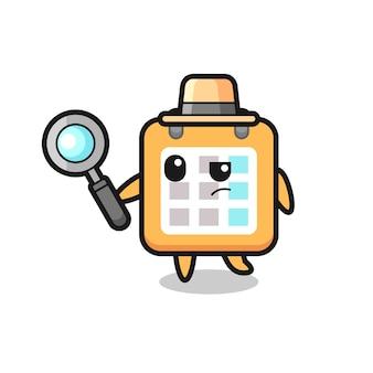 Personagem de detetive do calendário está analisando uma caixa, design de estilo fofo para camiseta, adesivo, elemento de logotipo