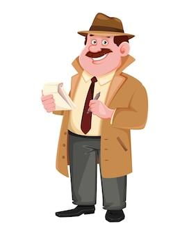 Personagem de detetive fazendo anotações. investigador