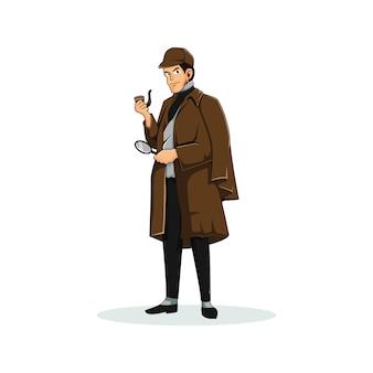 Personagem de detetive logo mascote gráfico