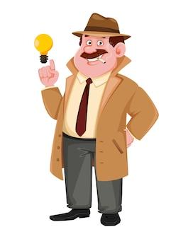 Personagem de detetive tendo uma ideia brilhante