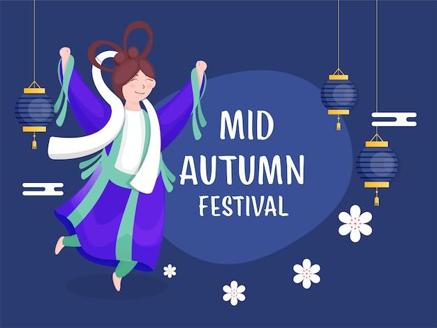 Personagem de deusa chinesa em pose de salto com flores e lanternas decoradas em fundo azul para mid autumn festival.