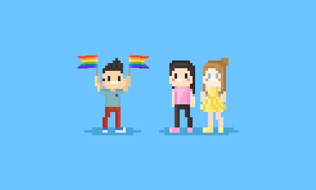 Personagem de dia do orgulho de pixel