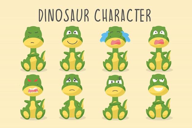 Personagem de dinossauro fofo em várias emoções