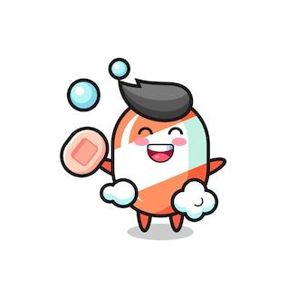 Personagem de doce está tomando banho enquanto segura o sabonete, design de estilo fofo para camiseta, adesivo, elemento de logotipo