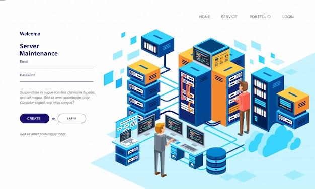Personagem de dois homens trabalhando na sala do centro de dados, com muitas ilustrações de computador servidor
