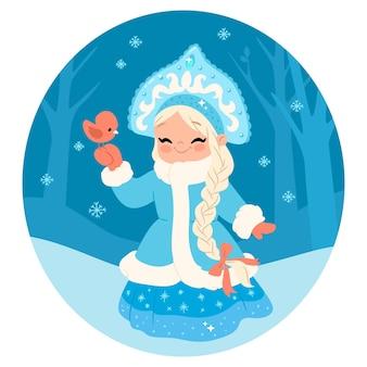 Personagem de donzela de neve fofa