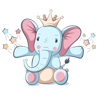 Personagem de elefante engraçado, bonito