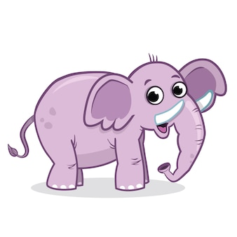 Personagem de elefante fofo em ilustração vetorial de fundo branco