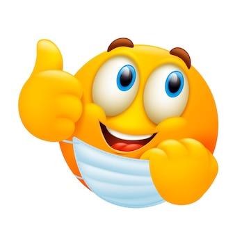 Personagem de emoji bonito dos desenhos animados, removendo a máscara médica.