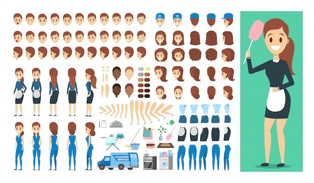 Personagem de empregada no conjunto uniforme ou kit de animação com várias vistas, penteado, emoção, pose e gesto.