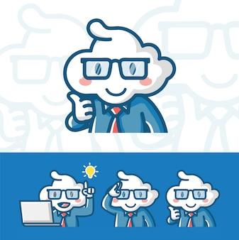 Personagem de empregado de analista de cientista de ilustração vetorial inspirada pelo estilo de coloração dos desenhos animados de nuvem mão desenhada