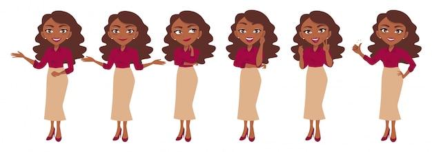 Personagem de empresária ou empresária cartoon em conjunto de poses diferentes