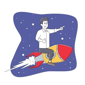 Personagem de empresário alegre voando em um foguete no espaço