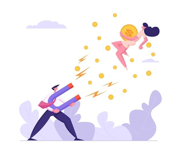Personagem de empresário atrai dinheiro com ilustração de grande ímã