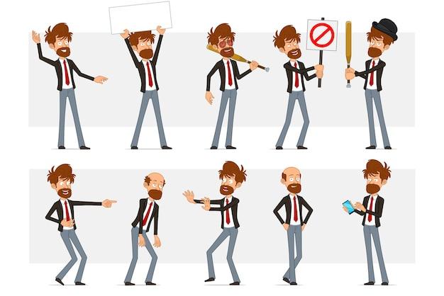Personagem de empresário barbudo liso engraçado dos desenhos animados de terno preto e gravata vermelha. rapaz cansado, segurando uma placa vazia para texto e nenhuma placa de pare de entrada.