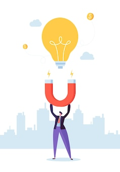 Personagem de empresário com grande ímã atraindo nova lâmpada de ideia. conceito de inovação empresarial.