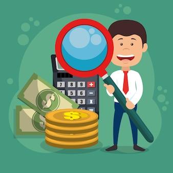 Personagem de empresário com ícones de ampliação e economia