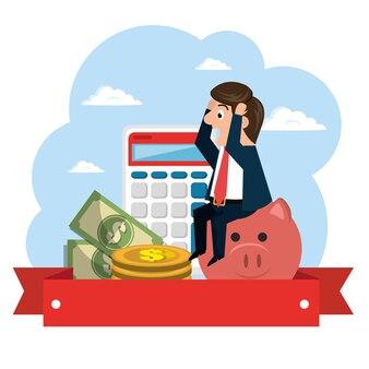 Personagem de empresário com ícones de economia