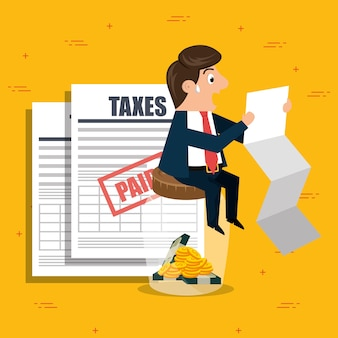 Personagem de empresário com ícones de impostos