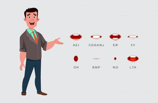 Personagem de empresário com sincronização labial diferente para seu design, movimento e animação.