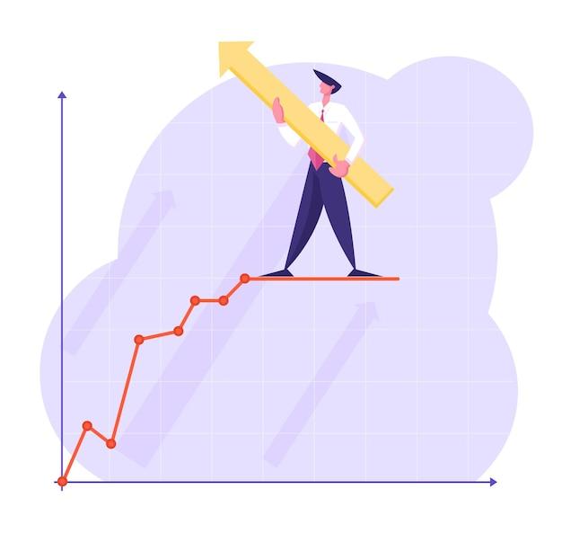 Personagem de empresário com uma seta enorme nas mãos fica em cima do gráfico de negócios em crescimento