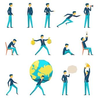 Personagem de empresário de desenho animado em várias poses.