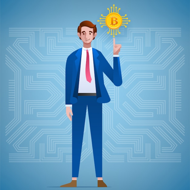 Personagem de empresário e bitcoin crypto currency.