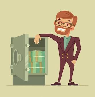 Personagem de empresário em pé perto de um cofre cheio de dinheiro.